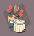 carnival mask face beard and musical drum and vector image