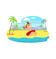 child in inflatable circle jumping in sea vector image vector image