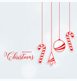 chrismtas greeting design with hanging decorative vector image