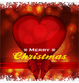 Christmas background with heart ribbon and bow vector image vector image