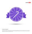 christmas candy cane icon - purple ribbon banner vector image
