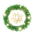 christmas wreath of fir branches glowing stars vector image vector image