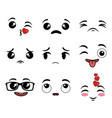 collection of cute emoji cartoon face vector image vector image