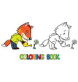 Coloring book of little funny fox watering flower vector image