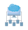 computer monitor with circuit cloud and servers vector image vector image
