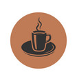 cup of coffee icon placed in brown circle vector image