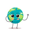 cute earth character waving hand cartoon mascot vector image vector image