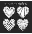 Decorative black and white hearts Set of stickers vector image