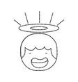 dotted shape tender happy angel head with aureole vector image