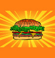 fast food burger hamburger vector image vector image