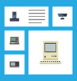 flat icon laptop set of technology pc vintage vector image vector image