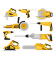 flat set of different power tools electric vector image vector image