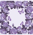 floral card template with violet roses and vector image vector image