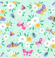 flower pattern with colorful butterflies vector image vector image