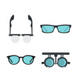 glasses icon set flat style vector image vector image