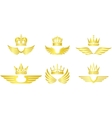 Golden crown with wings vector image vector image