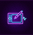 graphic tablet neon label vector image vector image