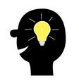 human face icon black silhouette idea light bulb vector image vector image