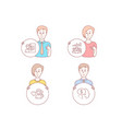 job interview teamwork results and man love icons vector image