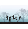 joyful people are jumping in meadow vector image vector image