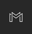 Letter M logo or two modern monogram symbol mockup vector image vector image