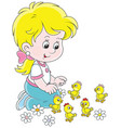 little girl and chicks vector image vector image