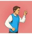 man gesturing and argues pop art vector image vector image