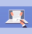 man signing agreement document online concept vector image