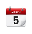 March 5 flat daily calendar icon Date and vector image vector image