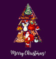 merry christmas tree wish greeting card vector image vector image
