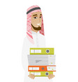 muslim businessman holding pile of folders vector image vector image