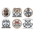 nautical and navy vintage labels vector image