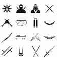 Ninja black simple icons set vector image vector image