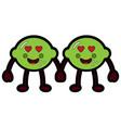 pair kawaii lemon cartoon cheerful character vector image vector image