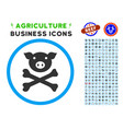 pig death rounded icon with set vector image