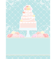 Pink cake and roses vector image vector image