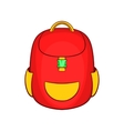 Red backpack icon in cartoon style vector image vector image