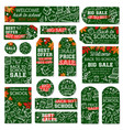 school supplies sale tag and special offer label vector image