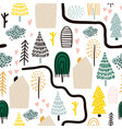 seamless pattern with trees houses forest vector image vector image