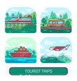 set of summer transport for travel and activity vector image
