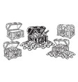 set pirate treasure chests in sketch style open vector image