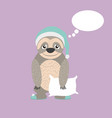 sloth with pillow and pijama cartoon vector image