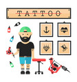 Tattoo artist master in salon