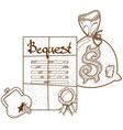 testament bequest background ancient documents vector image vector image
