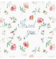Thank you floral greeting card vector image vector image