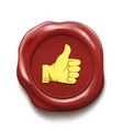 thumb up on wax seal like icon vector image