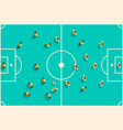 Top View Football Playground with Players Retro vector image vector image