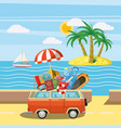 travel tourism concept island cartoon style vector image vector image