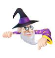 wizard peeking over sign vector image vector image