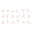 Women pink silhouettes in yoga poses set asana vector image